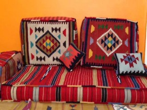 in bright colours, with intricate patterns