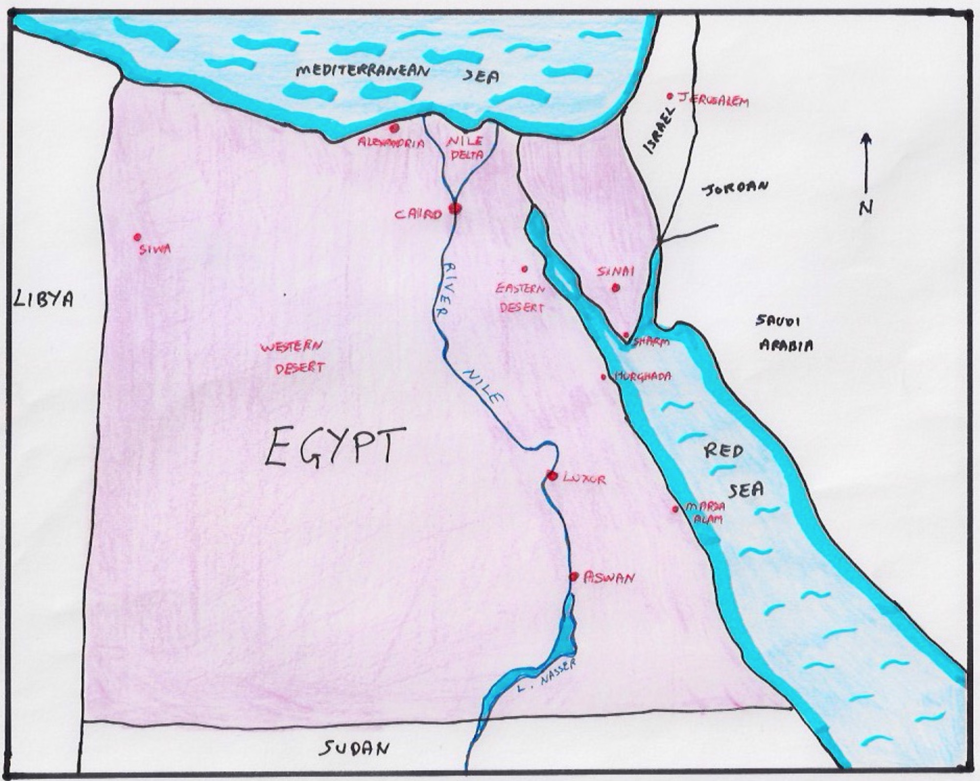 EGYPT Nile River Connections - Map of egypt mountains