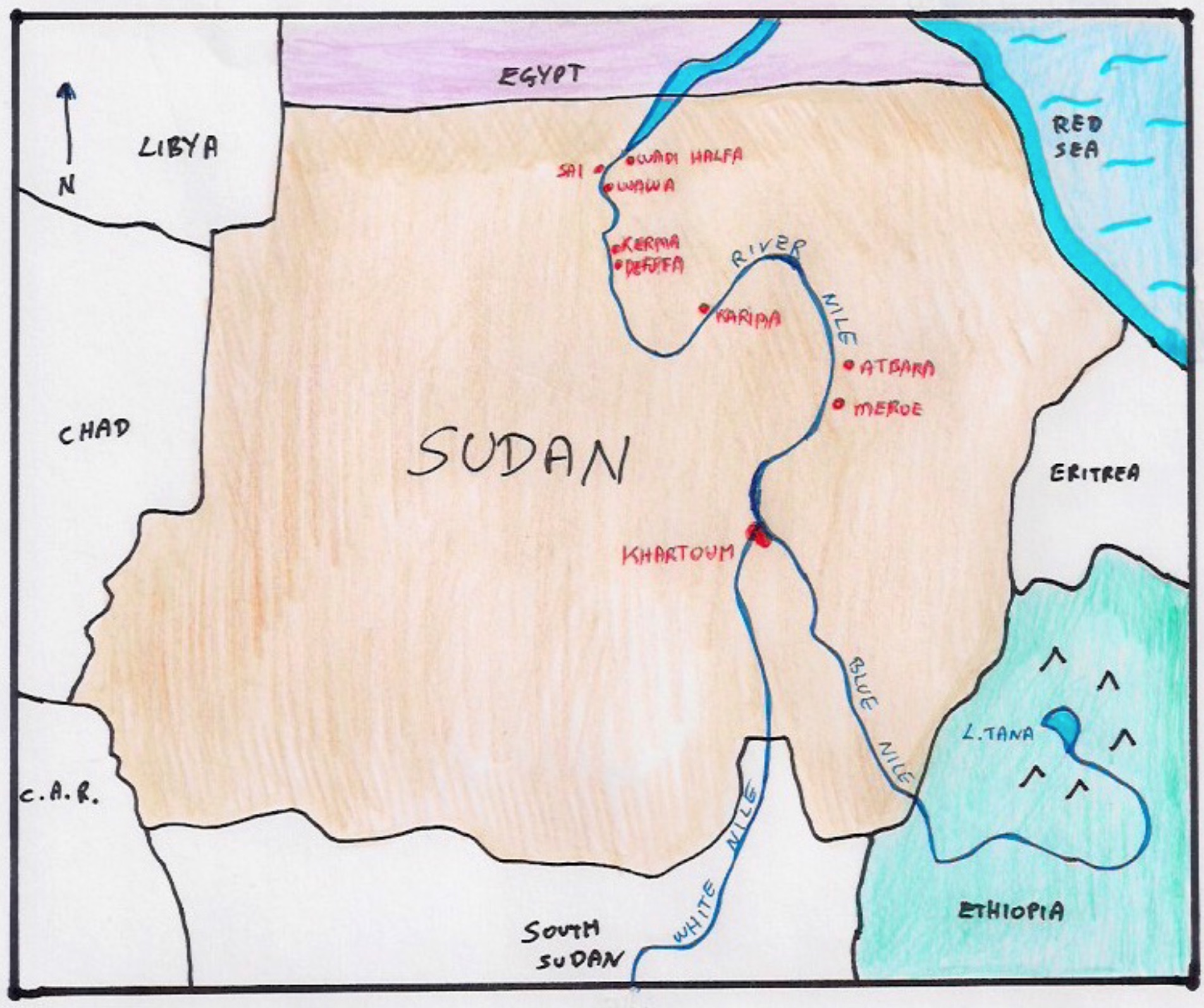 SUDAN Nile River Connections - Map of egypt and sudan